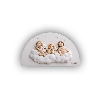 Scultura altorilievo Angeli su tavola in legno a lunetta