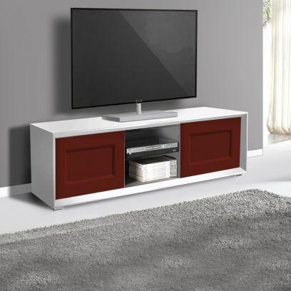 Porta Tv 2 ante e 2 vani a giorno linea Tilt CLASSIC in finitura Bianco opaco e rosso
