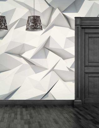 Carta da parati geometrica floreale 3D