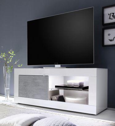 Porta Tv linea Basic colore Bianco lucido e Beton