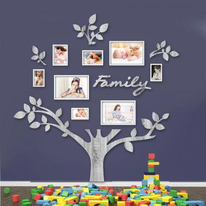 Quadro foto di Famiglia ALBERO della vita legno sbiancato