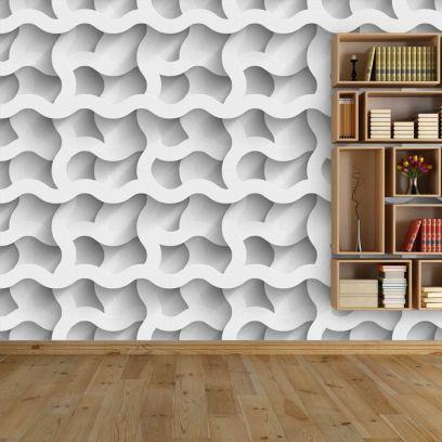 Carta da parati a onde quadrate effetto 3D colore bianco