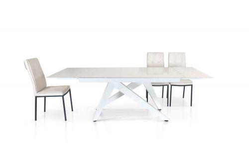 Tavolo allungabile Eco con piano in vetro Bianco