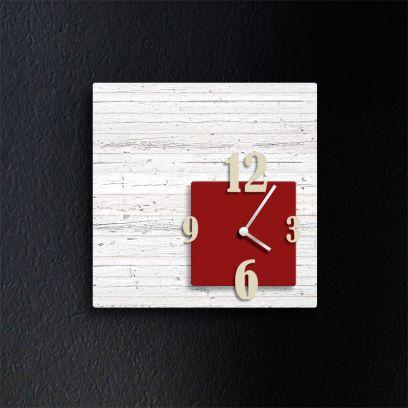 Orologio da parete CUBIK, legno sbiancato e rosso scuro