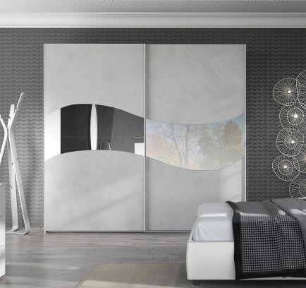 Armadio scorrevole Mare cemento con specchio