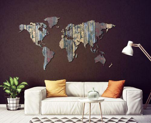 Planisfero da parete 2 metri - legno vintage colorato
