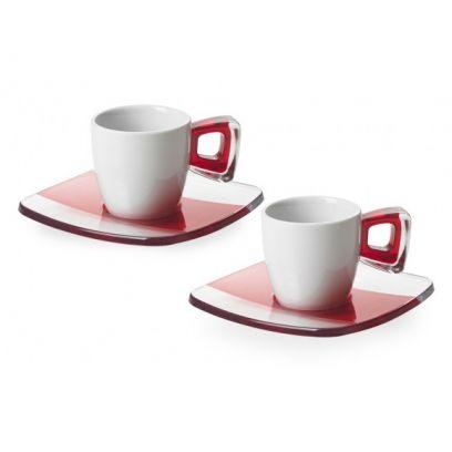 Set 2 tazzine caffè squre omada rosso