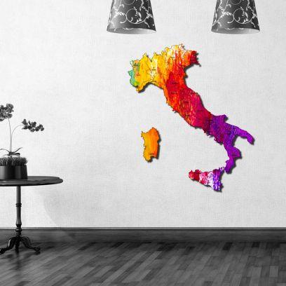Quadro mappa Italia in legno colorato fantasy