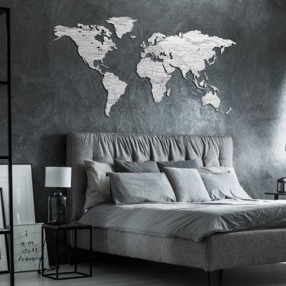 Planisfero da parete 1,5 metri finitura Bianco Frassino