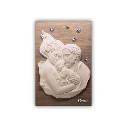 Scultura altorilievo Sacra Famiglia su tavola in legno