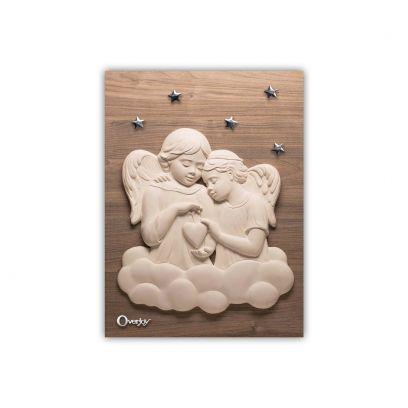 Scultura altorilievo Angeli Bianchi su tavola in legno