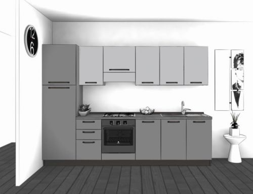 Cucina Lineare L.300xH.204 in vari colori