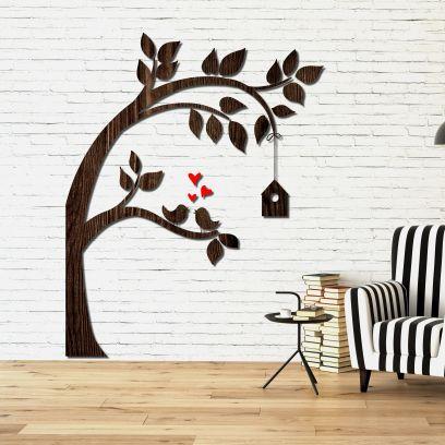 Decorazione in legno albero con casetta legno wenge