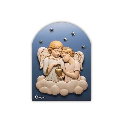 Scultura altorilievo Angeli Colorati su tavola in legno blu