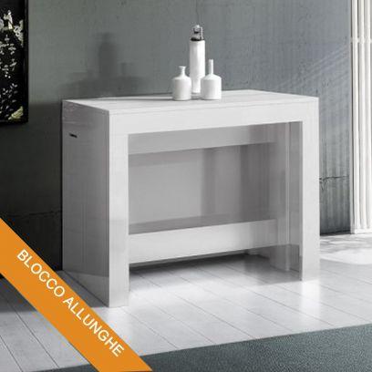 Consolle Inside 3 mt con Allunghe incorporate Bianco Lucido