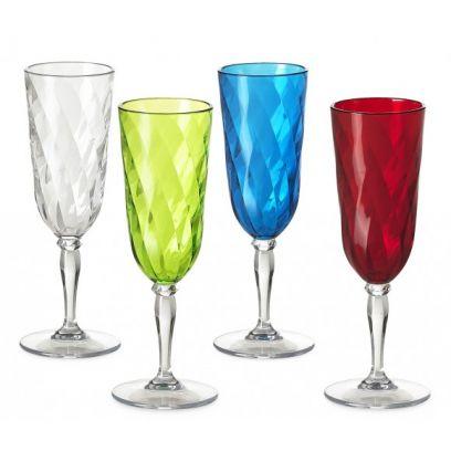 Set 4 flute champagna diamond omada assortiti