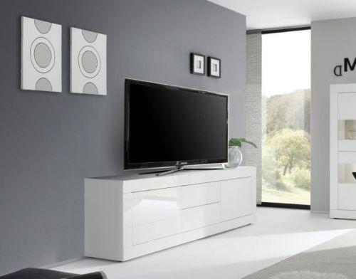 Porta TV 2 ante e 2 cassetti linea Basic colore Bianco laccato lucido