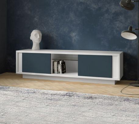 Porta tv SKYLINE 2 ante laccato bianco opaco e blu