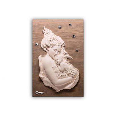 Scultura altorilievo Maternità su tavola in legno 60x40
