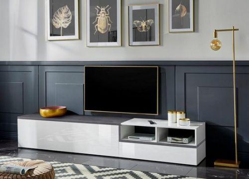 Porta Tv 2  ribalte linea Zeta in Bianco lucido e Ardesia L.240