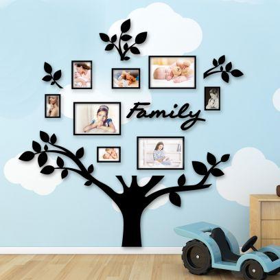 Quadro foto di Famiglia ALBERO della vita nero