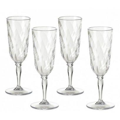 Set 4 flute champagna diamond omada trasparenti