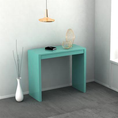 Consolle Twist allungabile colore smeraldo laccato lucido o opaco 3 mt