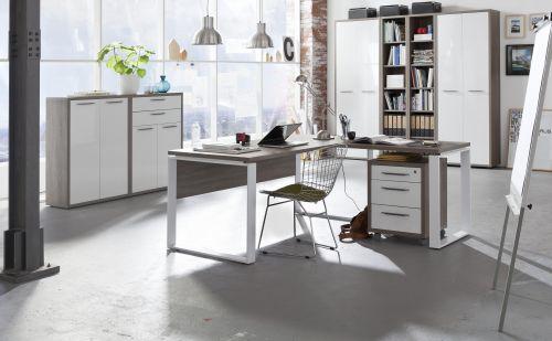 Ufficio completo in finitura Rovere Gessato  e Bianco Laccato