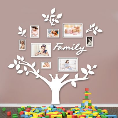 Quadro foto di Famiglia ALBERO della vita bianco