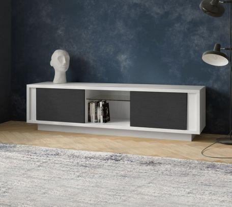 Porta tv SKYLINE 2 ante laccato bianco opaco e ante stone grey