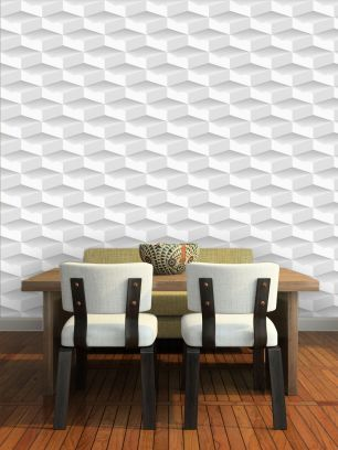 Carta da parati decorativa rombi 3D bianchi