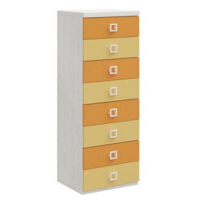 Cassettiera  Cora linea Colorfull a 8 cassetti in Betulla Mandarino e Cipria