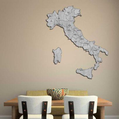 Quadro mappa Italia in legno colore cemento