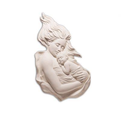 Scultura altorilievo Maternità su tavola in legno scontornata