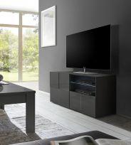 Porta linea  Tv Dama a 1 anta e 1 cassetto in Grigio lucido
