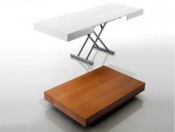 Tavolo Brooklin Eurosedia struttura grigia e piana bianca lucida
