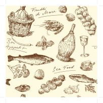 Carta da parati con decorazioni vintage cucina