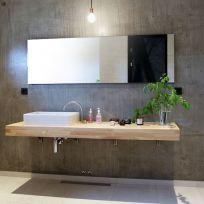 Mensola bagno in legno massello 160 x 45 cm