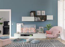Parete attrezzata con porta tv finitura cemento artico e fusion, 17 colorazioni