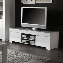 Porta TV bianco con ripiani e vani