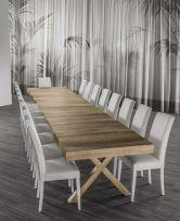 Tavolo in legno X5 rovere , bianco frassino e cemento allungo fino a 4,8mt