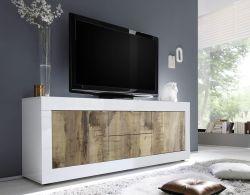 Porta TV 2 ante e 2 cassetti linea Basic colore Bianco laccato lucido e Pero