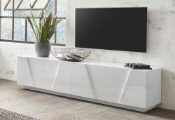 Porta Tv 4 ante linea Rombo in Bianco Lucido
