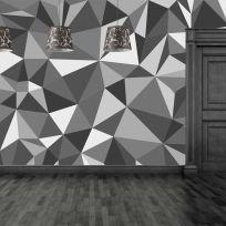 Carta da parati a triangoli effetto 3D colore grigio scuro