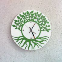 Orologio da parete albero della vita - bianco / verde scuro