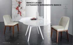Tavolo Argo Eurosedia struttura bianco con vetro bianco