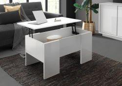 Tavolino basso contenitore in Bianco lucido