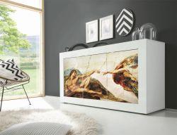 Madia Michelangelo Linea Fancy finitura Bianco lucido con Serigrafia