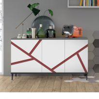 Madia moderna 3 ante Cloe Serigrafata con piedini 17 colorazioni
