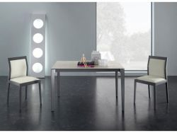 Tavolo Vertigo Eurosedia 160x85 struttura simil cromo e piana vetro bianco